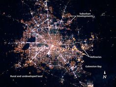 The Houston metropolitan area at night is featured in this image photographed by an Expedition 22 crew member on the International Space Station in early 2010, helping set a new record for most photos taken during a single space mission.