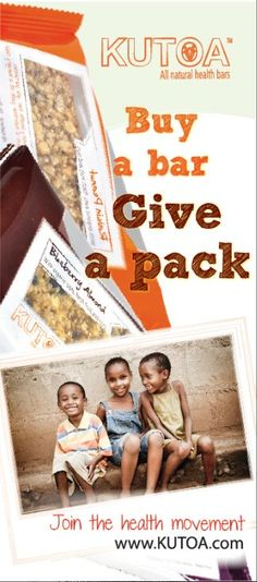 Every KUTOA bar you buy puts a nutrition pack in the hands of a hungry child.