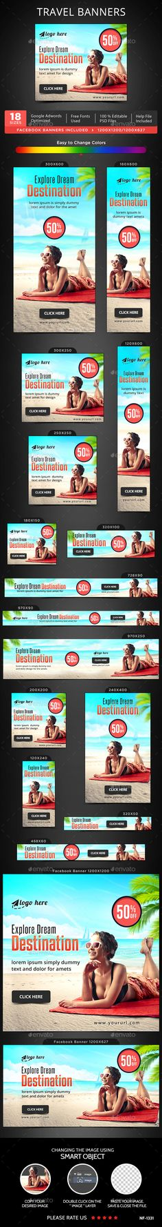 Travel Banners — Photoshop PSD #banner pack #travels • Available here → https://graphicriver.net/item/travel-banners/16431367?ref=pxcr