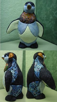 pingouin styropore (en polystyrène) recouvert de tissus