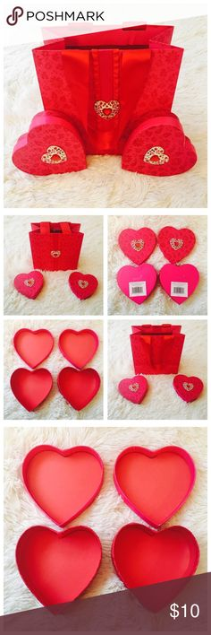💞 Valentine's' Gift Bag & Heart Boxes 💞 Used, but in decent shape! Boxes were used to hold chocolates and gift bag held boxes. Still very giftable! Papyrus Accessories