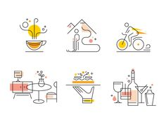 Icons Discover On the UP - Spot Illustrations 6 little spot illustrations for On the UP Magazine a travel and lifestyle magazine by Union Pearson Express. Icon Design, Web Design, Graphic Design Art, Graphic Design Inspiration, Logo Design, Design Layouts, Quote Design, Flat Design, Travel Illustration