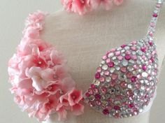 Baby Pink Hydrangea Flowers and Crystals Bra with by CuteAddicts, $88.00 Bling Bra, Rhinestone Bra, Bedazzled Bra, Crystal Bralette, Decorated Bras, Diy Bra, Rave Costumes, Hydrangea Flower, Rave Wear