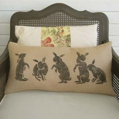 Les Lapins -  The Rabbits  - Burlap  Pillow - Rabbit Pillow - Spring Decor - Easter Decor - Lumbar Pillow - Bunny Pillow on Etsy, $35.00
