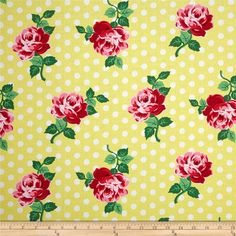Michael Miller Retro Florals Lucy Sunny from @fabricdotcom  Designed for Michael Miller, this cotton print fabric is perfect for quilting, apparel, and home decor accents. Colors include yellow, white, shades of red, shades of green, and shades of pink.
