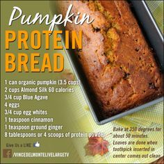 Healthy Pumpkin Bread Recipe - Fitness For Women by Flavia Del Monte Protein Snacks, Protein Bread, High Protein Desserts, Protein Cookies, Protein Bars, Healthy Sweets, Healthy Baking, Healthy Snacks, Healthy Recipes