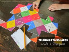 Relentlessly Fun, Deceptively Educational: Triangles to Squares Take-a-Long Game (free printable) Math For Kids, Games For Kids, Diy For Kids, Math Games, Preschool Activities, Maths Fun, Preschool Shapes, Dots And Boxes, Little Games