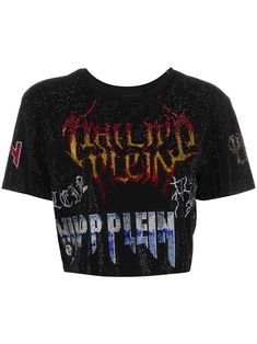 Black cotton embellished rock print cropped T-shirt from Philipp Plein featuring rhinestone embellishments, a ribbed crew neck, short sleeves and a straight hem. Lit Outfits, Cute Swag Outfits, Kpop Fashion Outfits, Stage Outfits, Edgy Outfits, Cosplay Outfits, Grunge Outfits, Grunge Fashion, Emo Fashion