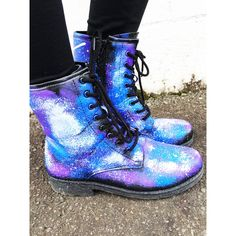 Galaxy Shoes Nebula Space Boots Women's Shoes Galaxy Print Combat... ($70) ❤ liked on Polyvore featuring shoes, boots, ankle booties, combat boots, army boots, military boots, galaxy boots and combat booties