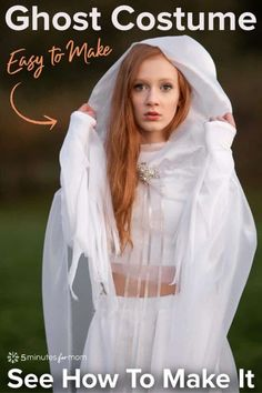 DIY Ghost Costume - How To Make A Ghost Halloween Costume #DIY #ghostcostume #DIYhalloweencostume #HalloweenCostume #DIYcostume Cat Costume Kids, Ghost Halloween Costume, Pumpkin Costume, Ghost Costumes, Diy Costumes, Costume Ideas, Devil Costume, Halloween Halloween, Vintage Halloween