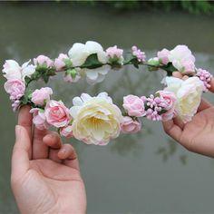 6 unids/lote mujer hechos a mano de la flor de Rose Wedding Party Garland la novia los niños accesorios para el cabello diadema de la corona de flores