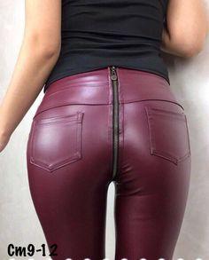 Оптом Женские кожаные лосины с молнией сзади артикул к23593 - Интернет-магазин Optstyle Sale
