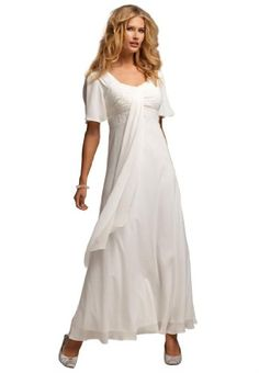 Roamans Plus Size Flutter Sleeve Beaded Empire Waist Gown for only $48.86