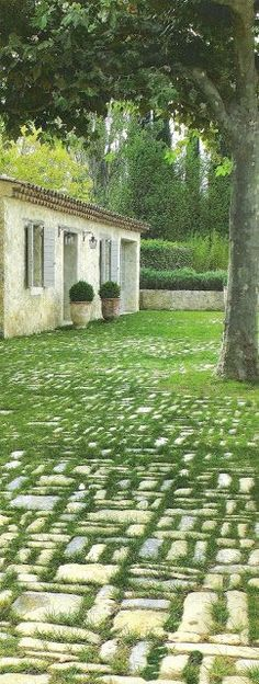 Fabulous Stone/Grass Yard in France....Je Veux Ce! A Similar DIY Idea for My Own Yard.....See more at thefrenchinspiredroom.com