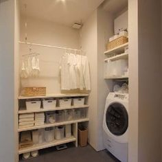 [WHITE is very on trend - this makes sure everything looks crisp and clean, especially in a laundry room] Landry Room, Warehouse Living, Japanese Interior, Laundry Room Design, Bathroom Interior Design, Home Organization, Small Bathroom, Room Inspiration, Storage Spaces