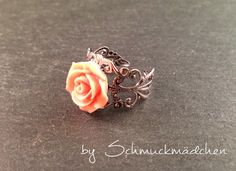 Ring Silber Blume Rosa