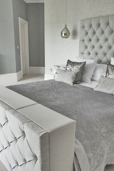 grey upholstered bed decor – Home Interior Design Ideas Grey Bedroom With Pop Of Color, Grey Room, Gray Bedroom, Home Bedroom, Bedroom Ideas, Grey Bed Room Ideas, Duck Egg Blue Bedroom, Silver Bedroom Decor, Stylish Bedroom