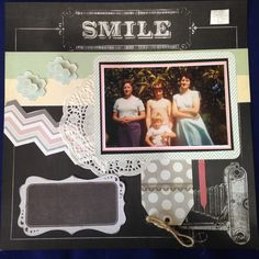 SMILE - $10. Made with the chalkboard collection.  Contact Deborah kitsandbits1@gmail.com Step By Step Instructions, Chalkboard, Scrapbooking, Smile, Kit, Frame, How To Make, Pictures, Collection