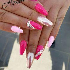 My nails - Nageldesign - Nail, FingerNail Glittery Nails, Glam Nails, Fancy Nails, Bling Nails, My Nails, Cute Nails, Fabulous Nails, Gorgeous Nails, Nagel Bling