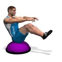 LEG PULL IN ON BOSU INVOLVED MUSCLES DURING THE TRAINING ABDOMINALS
