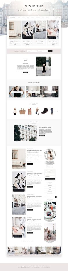 Meet our newest Wordpress theme, Vivienne. She is sophisticated, poised, and oh-so stylish. Vivienne is a Wordpress theme built for fashionable boss ladies and bloggers. Vivienne is packed with features including fully customizable colors, a beautiful flexible homepage, a swanky offscreen menu, several custom pages, and so much more! Easily use the theme as a business website or a blog, or a mix of both!
