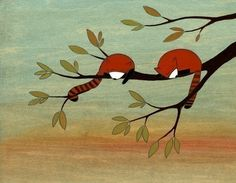 Red Pandas  Signed Art Print by krisblues on Etsy, $20.00