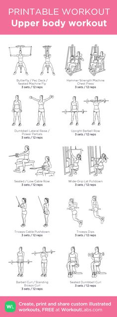 exercises for upper back Beginner Upper body workout my custom workout created at . - Beginner Upper body workout my custom workout created at Click through to d - Pilates Workout, Upper Body Workout Gym, Beginner Upper Body Workout, Pilates Training, Upper Body Workout For Women, Gym Workout Plan For Women, Fitness Studio Training, Gym Workouts Women, Upper Body Strength Workout