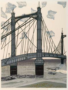 The Albert Bridge,London , 1966, linocut on paper by  Edward Bawden