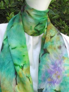 Exquisite Hand Painted SILK SATIN SCARF Extra Long by ShariArts, $52.00