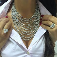 I HAVE TO START BUYING BIGGER SHIRTS!!!  An unforgettable moment with @rahaminovdiamonds , dripping in a ten layer rose cut diamond necklace and diamond rings to dream of!!!  #thediamondsgirl #rahaminovdiamonds