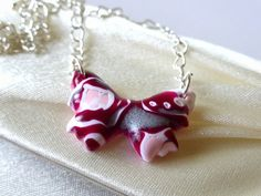 Butterfly Necklace - Burgundy, White, Pink & Silver Polymer Clay £8.50