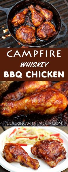 Don't rough it while camping, make this mouth water Campfire Whiskey BBQ Chicken recipe. Make the sauce ahead at home for a hassle free camp… (Bbq Chicken Legs) Campfire Dinner Recipes, Campfire Food, Campfire Chicken, Dutch Oven Campfire Recipes, Camping Dinner Ideas, Picnic Ideas, Dutch Oven Cooking, Cast Iron Cooking, Grilling Recipes