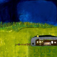 """""""Outpost""""  by Cheryl Finfrock  24"""" x 24""""  acrylic/canvas  2010 *Private Collection"""
