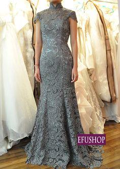 Grey lace cheongsam dress - Custom-made Cheongsam,Chinese clothes, Qipao, Chinese Dresses, chinese clothing,EFU Tailor Shop