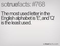 The most used letter in the English alphabet is 'E', and 'Q' is the least used.