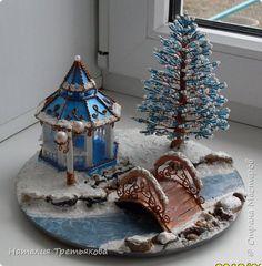 Поделка изделие Новый год Рождество Бисероплетение Картонаж Рождественская сказка Бисер Картон фото 1