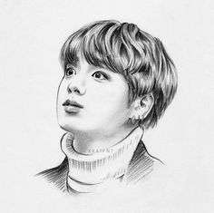 FanArt BTS ❤ - # 15 - B T S - FanArt images of BTS ❤❤❤ I clarify the images are not mine but I wanted with - Jungkook Fanart, Fanart Bts, Foto Jungkook, Girl Drawing Sketches, Cool Art Drawings, Kpop Drawings, Pencil Drawings, Fan Art, Korean Art