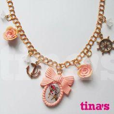 Collana cammeo rosa antico con donna old style , ancore e timoni, by Tina's - HandMade Fimo & Cernit Jewels, 10,00 € su misshobby.com