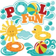 Pool Fun SVG files for scrapbooking pool svg files beach ball svg file sun svg file swimming svg files