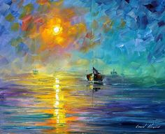 Pretty blue sea sunset palette knife painting. My website afremov.com Use 15% discount coupon - GeraSU15