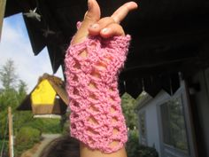 Pink Acrylic Crocheted Fingerless Gloves by SuzannesStitches, Pink Fingerless Gloves, Pink Formal Gloves, Girls Fingerless Gloves, Steampunk by SuzannesStitches on Etsy
