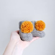 knitted handmade pompom baby booties wool choose by nanoutriko
