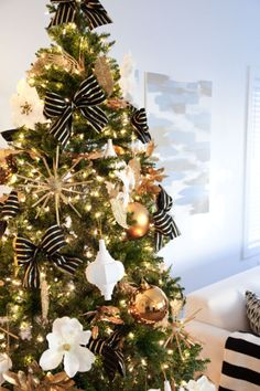 Gold white and black Christmas Tree on the Tiny Prints blog #ontheblog