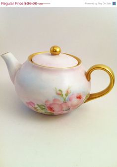 On Sale Exquisite Pale Blue Teapot Pink  Roses Gold by Comforte, $30.60