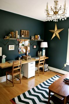 this is a pretty and rugged office space. (minus that horribly overdone nautical star, this is lovely!)