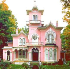 I want a pink house.I WILL HAVE a pink house! This would be to start out cuz my dream home must be a little less old Victorian and more modern and a little more hot pink! Pink Houses, Old Houses, Dream Houses, Vintage Houses, Beautiful Buildings, Beautiful Homes, Second Empire, Victorian Architecture, Amazing Architecture