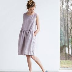 Linen dress. Dusty pink/pale pink ashes of rose by notPERFECTLINEN