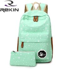 2016 Fashion Women Canvas Backpack School Bag Printing Backpack For Teenage Girls Mochila Ladies Casual Travel Rucksack(China (Mainland))