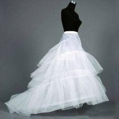 White Gauze 3 Layers Sweep Train Bridal Petticoat at Millybridal.com