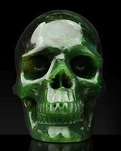 Green Canadian Nephrite Jade carved skull - seen on Ebay